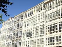 Balconies in La Coruna Royalty Free Stock Photo