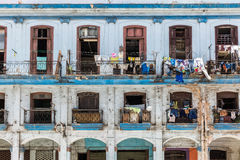 Balconies with laundry in the center of the old city of Havana, Cuba Stock Photos