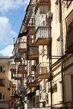Balconies like birdhouses Royalty Free Stock Photos
