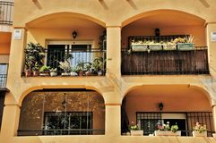 Balconies in Malaga Spain Royalty Free Stock Images