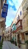 Balconies of Malta. Streets of Malta with balconies in Birgu, Malta Royalty Free Stock Photo