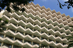 Balconies in modern holiday hotel. Balconies in large multi storey modern holiday hotel in Palma Nova, Majorca Royalty Free Stock Photo