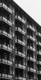Balconies in a modern pre-fabricated house in black and white. Balconies in pattern in a modern pre-fabricated house in black and white Stock Images