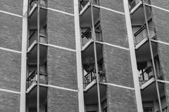 Balconies in a modern pre-fabricated house in black and white Stock Image