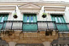 Balconies on old historic buildings Royalty Free Stock Images