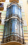 Balconies in old house in Barcelona stock image