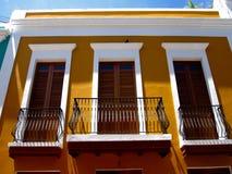 Balconies in Old San Juan, Puerto Rico Stock Photos