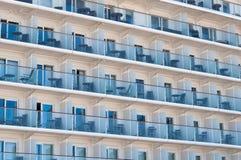 Balconies onboard cruise ship Stock Photos