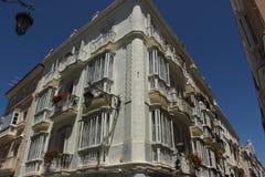 Balconies. Open up onto the narrow streets of Cadiz, Spain Stock Photos