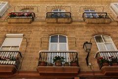 Balconies. Open up onto the narrow streets of Cadiz, Spain Royalty Free Stock Image