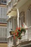 Balconies. Opening up onto the narrow streets of Cadiz, Spain Royalty Free Stock Photo