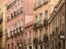 Balconies. Overlooking the narrow streets of Cagliari on the island of Sardinia, Italy Stock Images