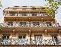 Balconies of the Parisian house Stock Images