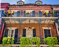 2 Balconies with 7 Planters French Quarter Stock Photo