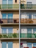 Balconies in a residential building. Many balconies in a residential building for a number of parties in a city Royalty Free Stock Photo