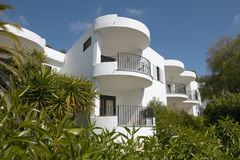 Balconies of Residential building at Mediterranean place. Royalty Free Stock Photos