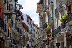 Balconies at San Anton street in Pamplona Royalty Free Stock Photos