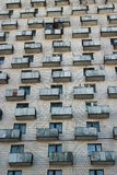 Balconies similar to boxes. Balconies on the outside wall building stock photography