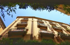 Balconies and skies of Barcelona Stock Photos