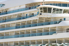 Balconies on the starboard side of a cruise liner Stock Images