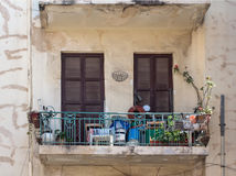 Balconies on the streets of old Tel Aviv stock image