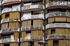 Balconies and terraces with awnings yellow strips Stock Photography