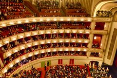 Balconies of Vienna Opera House Royalty Free Stock Photography