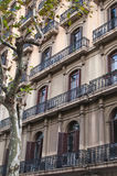 Balconies and windows at Barcelona street Royalty Free Stock Image