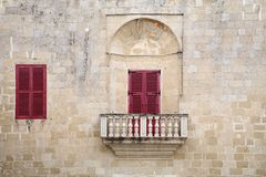 Balconies and windows in Malta Stock Image