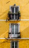 Balconies on yellow building