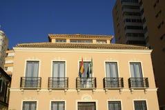 Balcons de fenêtre avec un drapeau espagnol Photo libre de droits