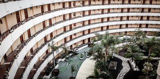Balcons ronds d'hôtel Image libre de droits