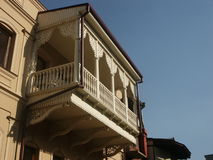 Balcony. White carved balcony in Tbilisi Stock Photo