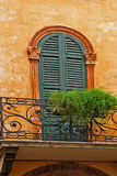 Balcony. Ornamented door with jalousi shutters and balcony parapet with wrought iron decorations and plants Stock Photography