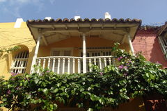Balcony. A colonial house in Cartagena, Colombia Royalty Free Stock Image