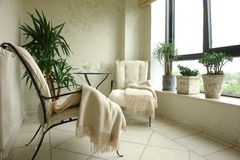 Balcony. With armchairs and plants Royalty Free Stock Photo