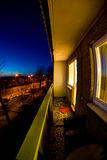 Balcony. Big balcony in an apartment building at night Stock Photo