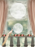 Balcony. In a clastle with two moons Royalty Free Stock Photography