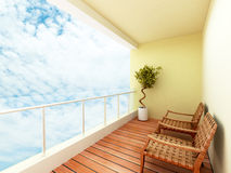 Balcony. Of a building with a sky view Stock Photography