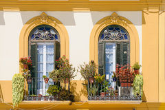 Balcony. With pots in Merced Square in Malaga, Spain Stock Image