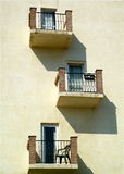 Balcony. A Building with three Balconies royalty free stock photography
