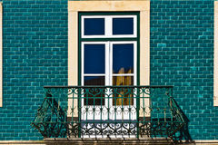 Balcony. Window Decorated with Portuguese Ceramic Tiles royalty free stock images