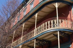 Balcony. This New Orleans style grand hotel sits in the center of Jim Thorpe's historic district, which is listed on the National Register of Historic Places stock photo