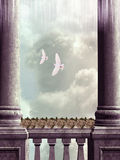 Balcony. With flowers and doves Royalty Free Stock Photography