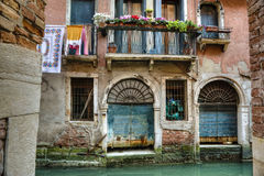 Balcony, canal, Venice, Italy Stock Photo