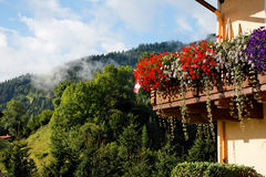 Balcony of Alpine chalet Royalty Free Stock Photos