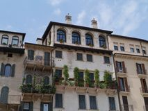 A balcony of an ancient house in Verona in Italy Stock Images