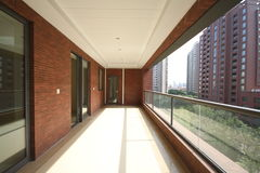 Balcony of an apartment. With chairs and table in Shanghai Royalty Free Stock Photos
