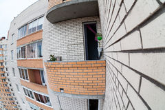 Balcony of an apartment house on high floor, fisheye view Royalty Free Stock Images