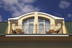 Balcony in attic floor of luxury mansion. Stock Photo